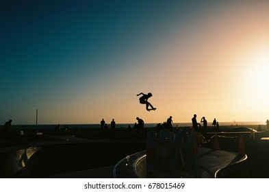 Sunset at the Venice Skate Park in L.A