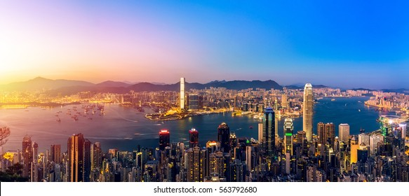 sunset in Victoria harbor Hong Kong lookout from The Peak