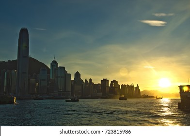 sunset at Victoria Harbor in Hong Kong