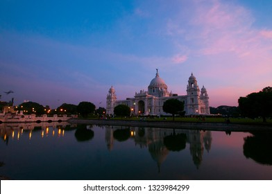 Sunset at Victoria Memorial, Kolkata , Calcutta, West Bengal, India . A Historical Monument of Indian Architecture. Built to commemorate Queen Victoria.