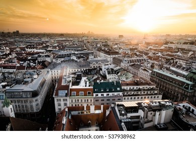 Sunset in Vienna, aerial view from above the city