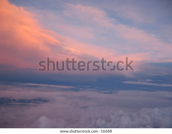 Sunset - view from an airplane