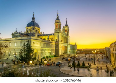 Sunset view of the Almudena cathedral in Madrid