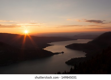 Sunset view of the Annecy lake from  Col du Forclaz