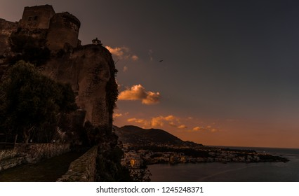Sunset view from Aragonese Castle, Ischia island