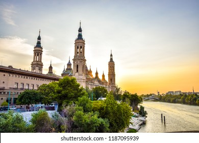 Sunset view of Basilica of Our Lady of the Pillar, Spain