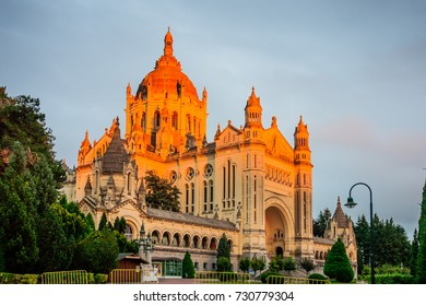 Sunset view of the Basilica of St. Therese of Lisieux, Normandy, France
