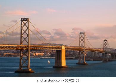 Sunset View of Bay Bridge between Treasure Island and San Francisco, California.