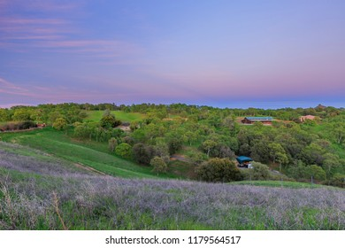 Sunset view of beautiful country side near Sonora, California