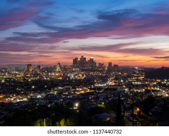 Sunset view of the beautiful Los Angeles skyline, California