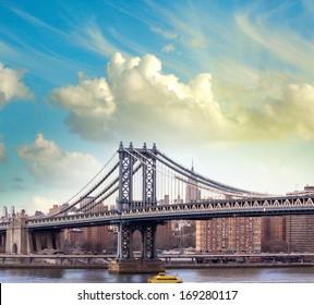 Sunset view of beautiful Manhattan Bridge - New York City.