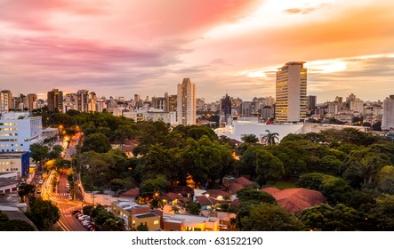 Sunset view of Belo Horizonte, Minas Gerais, Brazil.