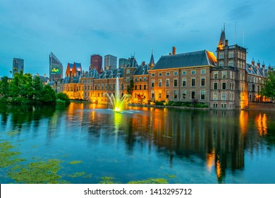 Sunset view of Binnenhof palace in the Hague, Netherlands