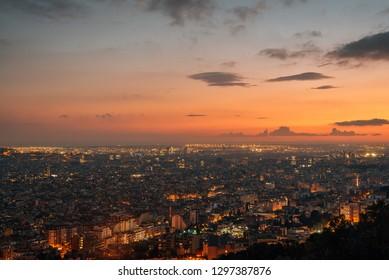 Sunset view from Bunkers del Carmel (Colina de la Rovira), in Barcelona, Spain