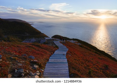 Sunset view of the Cabot Trail from the Skyline Trail in Cape Breton Highlands National Park, Nova Scotia, Canada