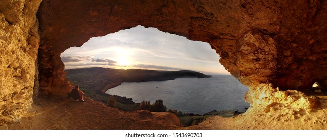 Sunset view from Calypso Cave on Gozo, Malta