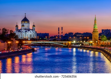 Sunset view of Cathedral of Christ the Savior, Moscow Kremlin and Moscow river in Moscow, Russia. Architecture and landmarks of Moscow.