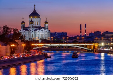 Sunset view of Cathedral of Christ the Savior and Moscow river in Moscow, Russia. Architecture and landmarks of Moscow. Postcard of Moscow.