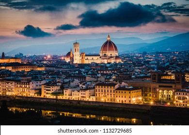 Sunset view of Cathedral of Santa Maria del Fiore (Duomo), Florence, Italy