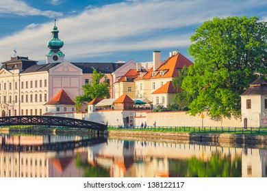 Sunset View of Ceske Budejovice / Budweis in the Czech Republic