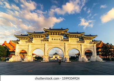 Sunset view of Chiang Kai-Shek Memorial Hall is one of the most popular attractions in Taipei. Taiwan