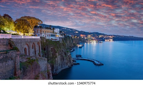 Sunset view of coastline Sorrento and Gulf of Naples - popular travel destination in Amalfi Coast, Italy.