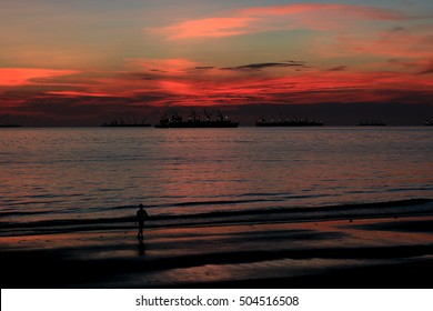 Sunset view & Color at Port city sea beach