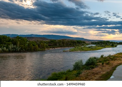 Sunset view of Colorado River in Silt in Colorado, USA. Long Exposure low light photograph.
