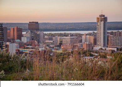 Sunset view of downtown skyline in Hamilton, Ontario, Canada