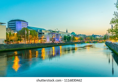 Sunset view of the Dublin city council, Ireland
