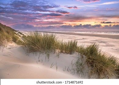 Sunset View from dune top over North Sea from the island of Ameland, Friesland, Netherlands