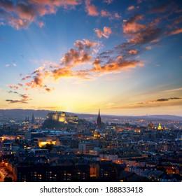 Sunset view of Edinburgh from Holyrood Park, Scotland, UK