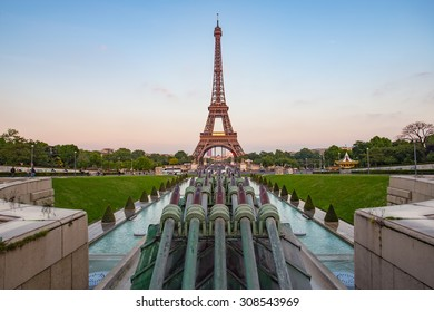 Sunset view of Eiffel Tower in Paris, France.