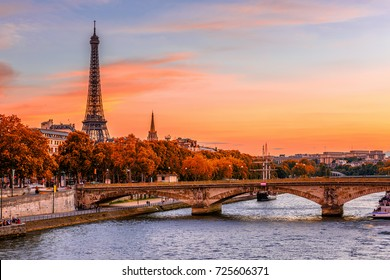 Sunset view of Eiffel tower and Seine river in Paris, France. Autumn Paris. Architecture and landmarks of Paris. Postcard of Paris