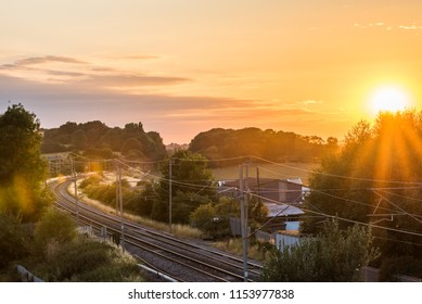 Sunset view empty British Railroad landscape
