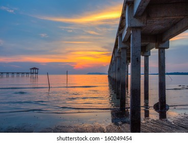 Sunset view at a fishing jetty in Port Dickson, Malaysia