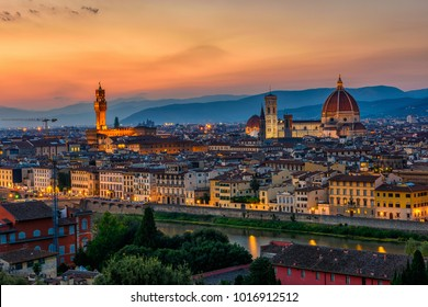 Sunset view of Florence, Palazzo Vecchio and Florence Duomo, Italy. Architecture and landmark of Florence. Night cityscape of Florence