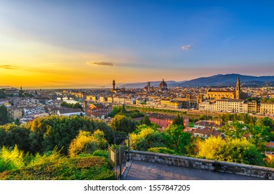 Sunset view of Florence, Ponte Vecchio, Palazzo Vecchio and Florence Duomo, Italy. Architecture and landmark of Florence. Cityscape of Florence