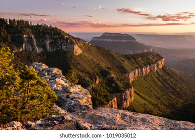 Sunset View of the Grand Canyon North Rim from Locust Point on the edge of the Kaibab Plateau from the North Rim.