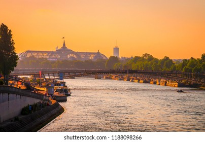 Sunset view of Grand Palais on right bank of Seine, Paris, France