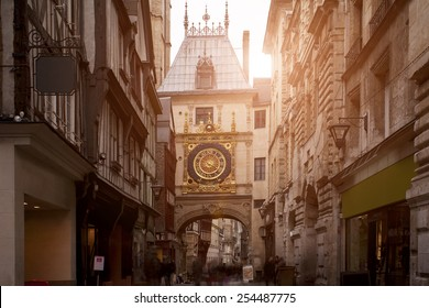 Sunset view of the Gros Horloge is a fourteenth-century astronomical clock in Rouen, Normandy, France
