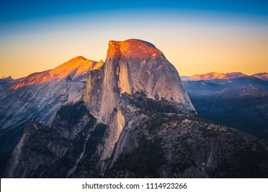 Sunset View of Half Dome from  Glacier Point in Yosemite National Park, California, USA