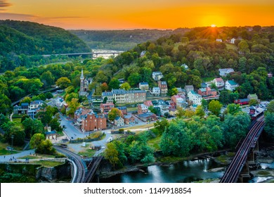 Sunset view of Harpers Ferry, West Virginia from Maryland Heights