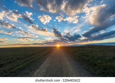 A sunset view from the hiking trail at the Tallgrass Prairie National Preserve in Kansas