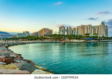 Sunset view of hotels in israeli holiday resort Eilat, Israel