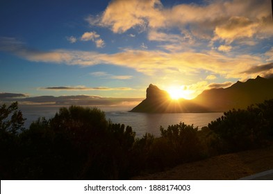 Sunset view to Hout Bay Harbour, Cape Town, South Africa