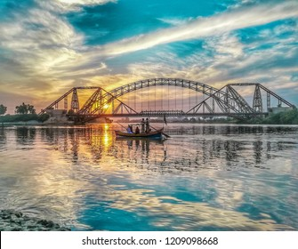 Sunset view from the indus river side of sukkur sindh.