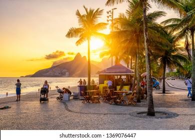 Sunset view of Ipanema beach, Leblon beach and the Mountain Dois Irmao in Rio de Janeir, Brazil. Ipanema beach is the most famous beach of Rio de Janeiro, Brazil.