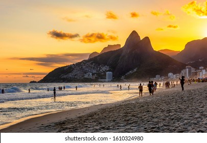 Sunset view of Ipanema beach, Leblon beach and the Mountain Dois Irmao in Rio de Janeiro. Brazil