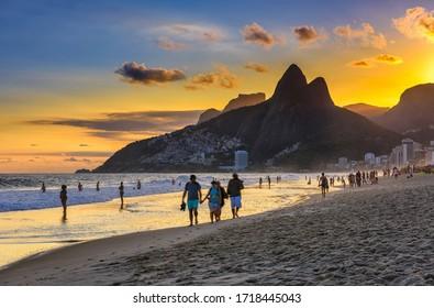 Sunset view of Ipanema beach, Leblon beach and the Mountain Dois Irmao in Rio de Janeiro, Brazil. Sunset cityscape of Rio de Janeiro